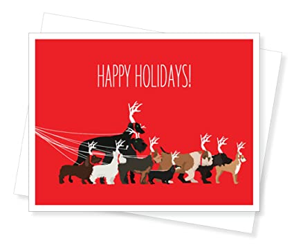 Amazon Com Dog Walk Holiday Christmas Cards Set Of 10 Greeting