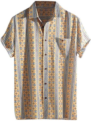 SoonerQuicker Camisa Tops T Shirt 2019 New Blusa de Vintage Camiseta Hombre Manga Corta Verano con Botones Coloridos para Hombres Casual botón Solapa a Rayas Hawaiana Informal: Amazon.es: Ropa y accesorios