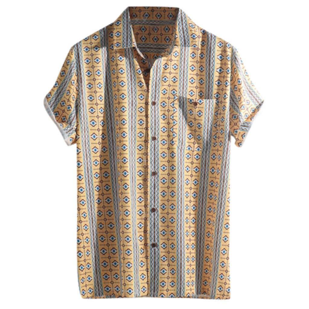 Mens Boys Casual Shirts,RNTOP Hawaiian Tropic Cotton Shirt Button-Down Short Sleeve Beach Aloha Shirts