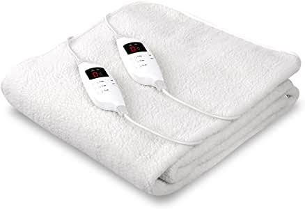 Giselle Bedding Fleecy Electric Blanket Heated Fully Fitted Washable Fleece Underlay King Bed