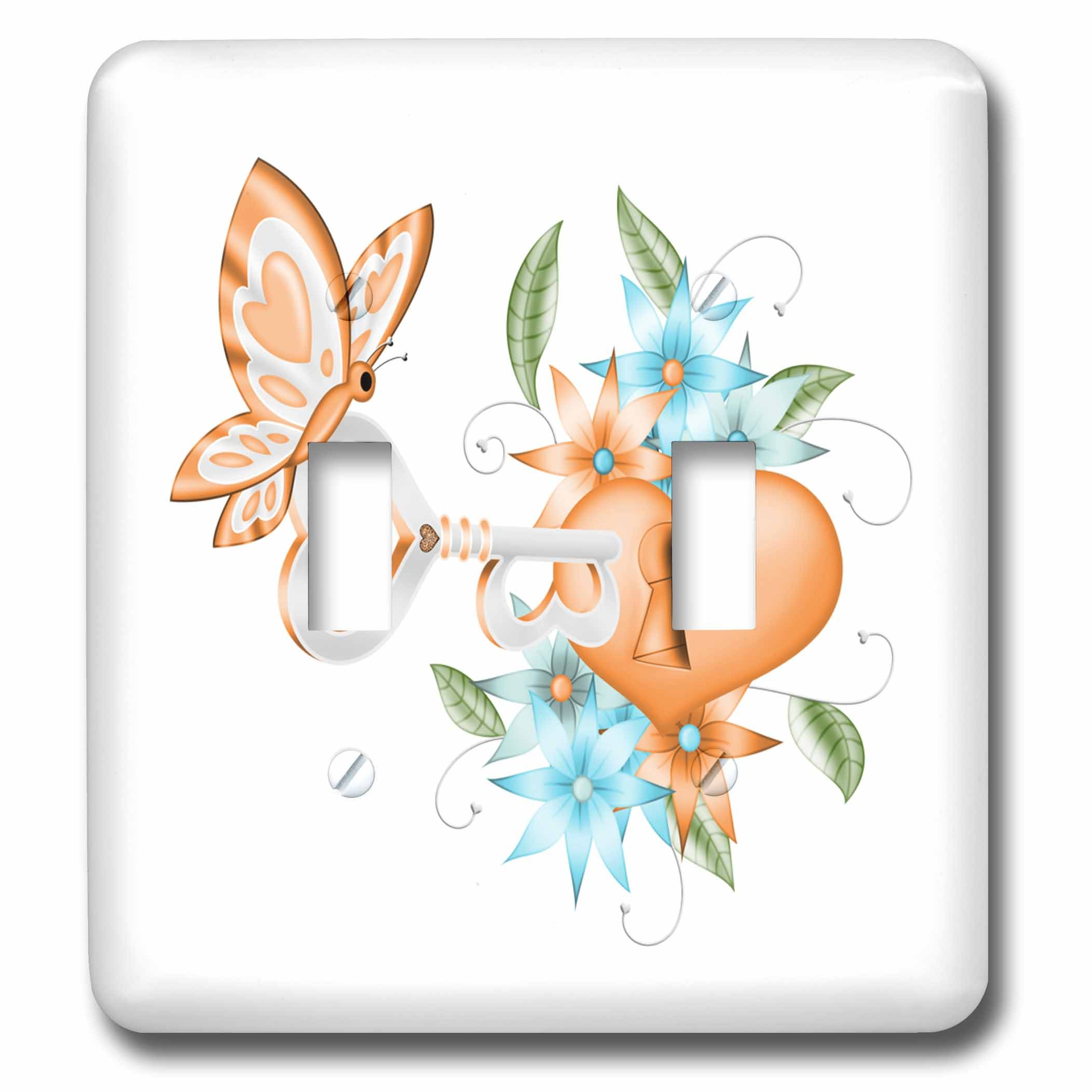 3dRose Anne Marie Baugh - Illustrations - Pretty Orange Butterfly With A Floral Lock and Key Illustration - Light Switch Covers - double toggle switch (lsp_264915_2)
