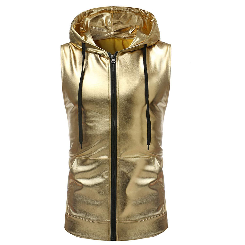Bakiom Shiny Gold Coated Metallic Tank Top Men New Hip Hop Sleeveless Hoodie Tank Men Nightclub Party Dance Zipper Tops Tee