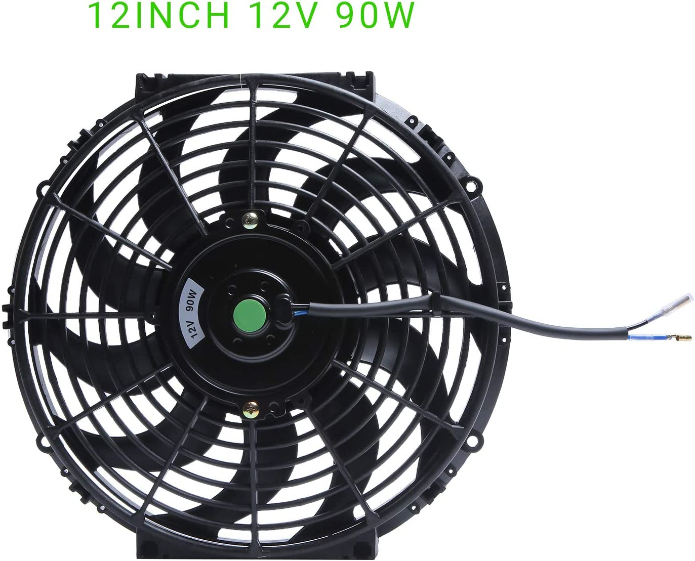 Engine Radiator Cooling Fan 12 Inch Curved Blade Ultra Thin Universal High Performance 12V 90W Motor,Radiator Fan With Fan Mounting Kit(Puller and Pusher Design)