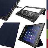 """igadgitz Blau PU Ledertasche Hülle Smart Cover für Sony Xperia Z2 Tablet SGP511 10.1"""" mit Multi Winkelbetrachtung Stand + Auto Sleep/Wake + Displayschutzfolie"""