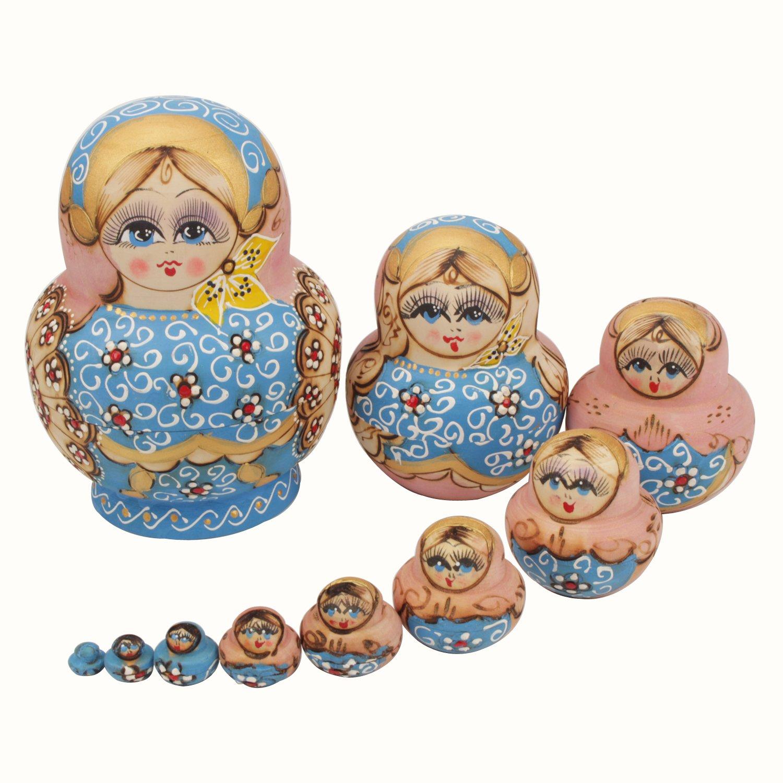 NuoYa005 Russisch nisten Puppe Schöne Beliebte Handmade Blau Garland russischen Matroschka 10er