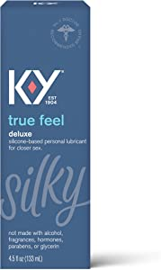 Sex Lube for Women, K-Y True Feel Premium Silicone Personal Lubricant for Sex, Safe to Use with Natural Rubber Latex Condoms, 4.5 oz