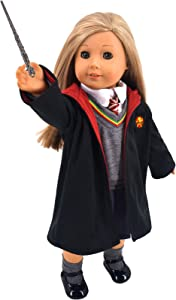 """ebuddy Magic School Uniform Inspired Doll Clothes for American Girl Dolls and 18"""" Dolls: 8pc Sets (Includes Shirt, Skirt, Sweater, Tie, Socks, Robe, Magic Wind and Shoes)"""
