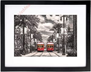 VinMea Art Print Wall Art New Orleans-Streetcars Black and White Picture Frames with High Definition Glass,Home/Office Wall Art Decor Wooden Frames 12x16 Inches