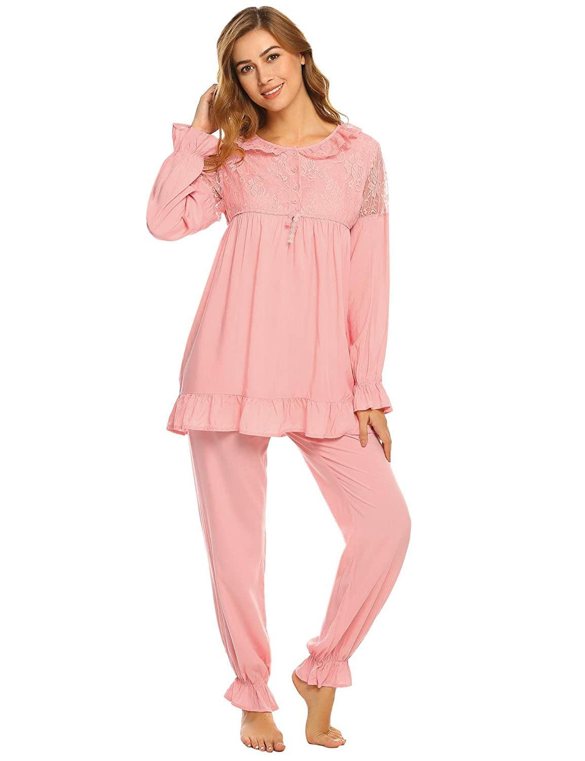 Victorian Nightgowns, Nightdress, Pajamas, Robes Goldenfox Womens Cotton Pjs Victorian Vintage Lace Patchwork Long Sleeve Pajama Set Sleepwear S-XXL $34.19 AT vintagedancer.com