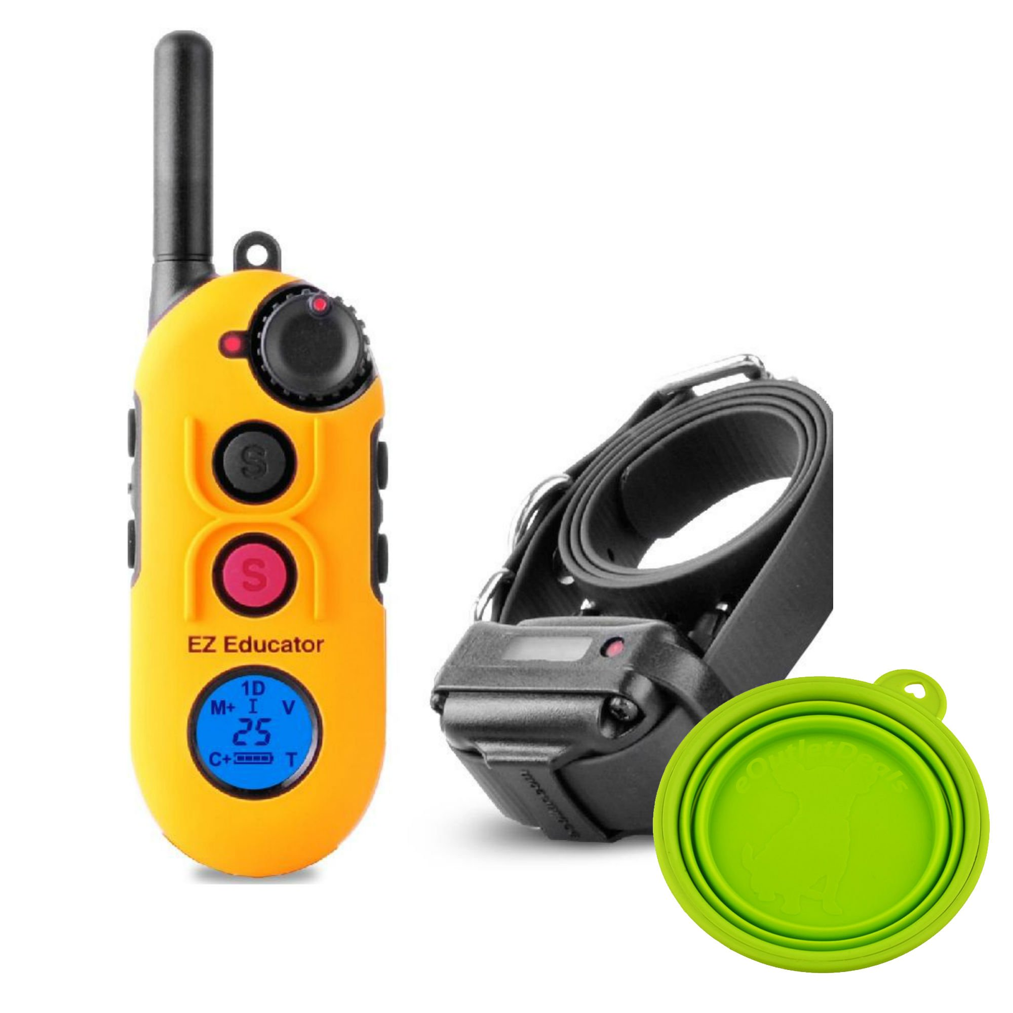 Educator Easy EZ-900 E-Collar Remote Dog Training System 1/2 Mile with Vibration, Tapping, Pavlovian Stimulation - Waterproof and Shock Resistant - with Bonus eOutletDeals Travel Bowl (1 Dog) by Easy Educator