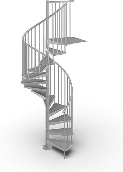 Mister Step Gamia Metal - Escalera de caracol para interiores de acero barnizado - Diámetro 120 cm. 12 peldaños de 252-276 cm de altura., gris: Amazon.es: Bricolaje y herramientas