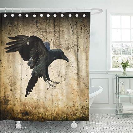 Emvency 66quotx72quot Shower Curtain Waterproof Landing Black Raven Corvus Corax In Moonlight Scary