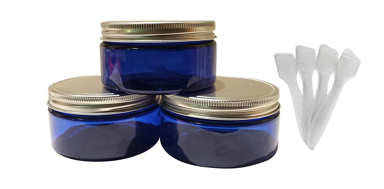Rewarding Essentials 8 oz Blue Plastic Jars PET Heavy Wall Low Profile wide mouth Jars w/ Air Tight and Leak Proof Lined Aluminum Caps 4/pk 8oz 4 Free Spatula
