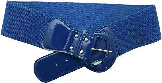 Hot Women Royal Cobalt Blue Stretch High Waist Hip Belt Round Buckle Plus M L XL
