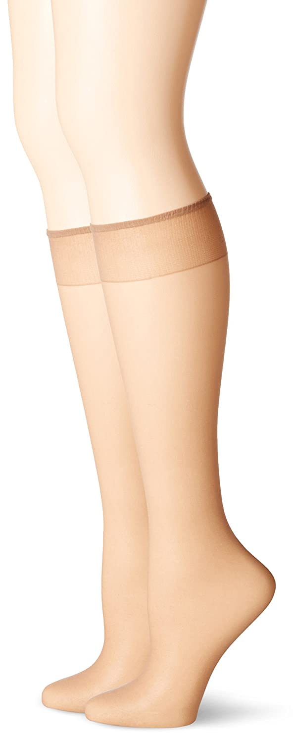 No Nonsense Women's Knee High Pantyhose with Sheer Toe 2-Pack