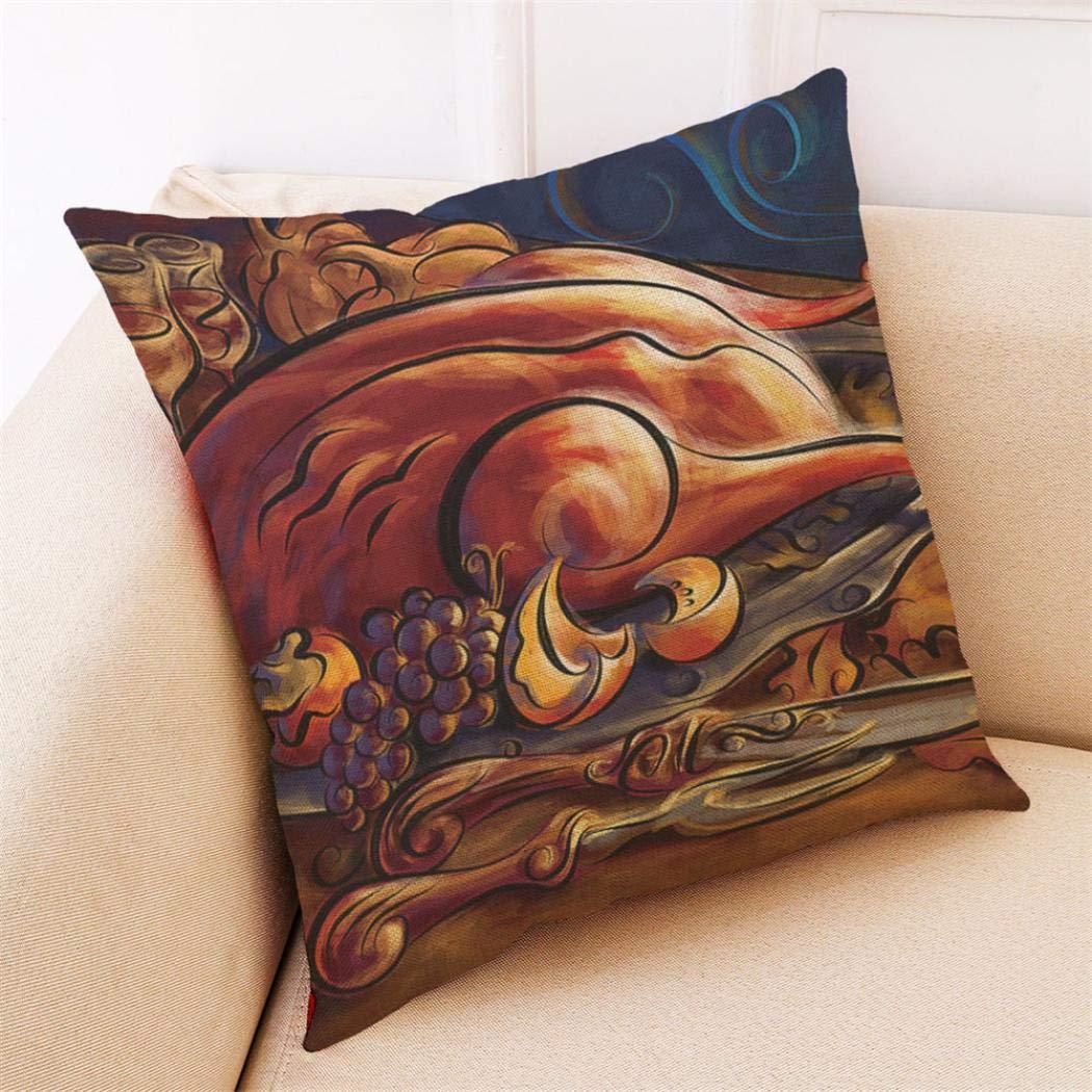 Corsion Turkey Pattern Linen Pillowcase, Happy Fall Thanksgiving Day Soft Linen Pillow Case Cushion Cover Home Decor (A)