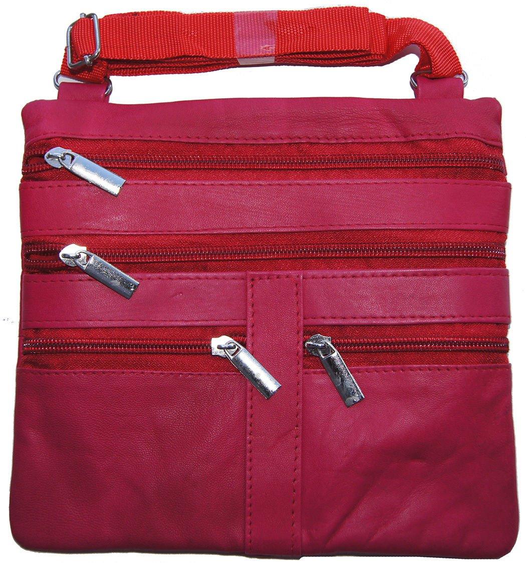 Pink Ladies Genuine Leather Cross Body Bag Satchel Messenger Bag 48'' Strap by Wallet (Image #1)