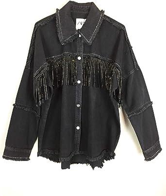 Zara 3305/253/800 - Chaqueta con Flecos para Mujer - Negro ...