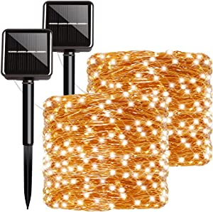 Outdoor Solar Powered String Lights Warm White, Super Bright Solar Fairy Lights with 8 Lighting Modes Waterproof Decoration Lights for Garden Backyard Party Patio Furniture, 50 LED 17Ft - 2 Pack