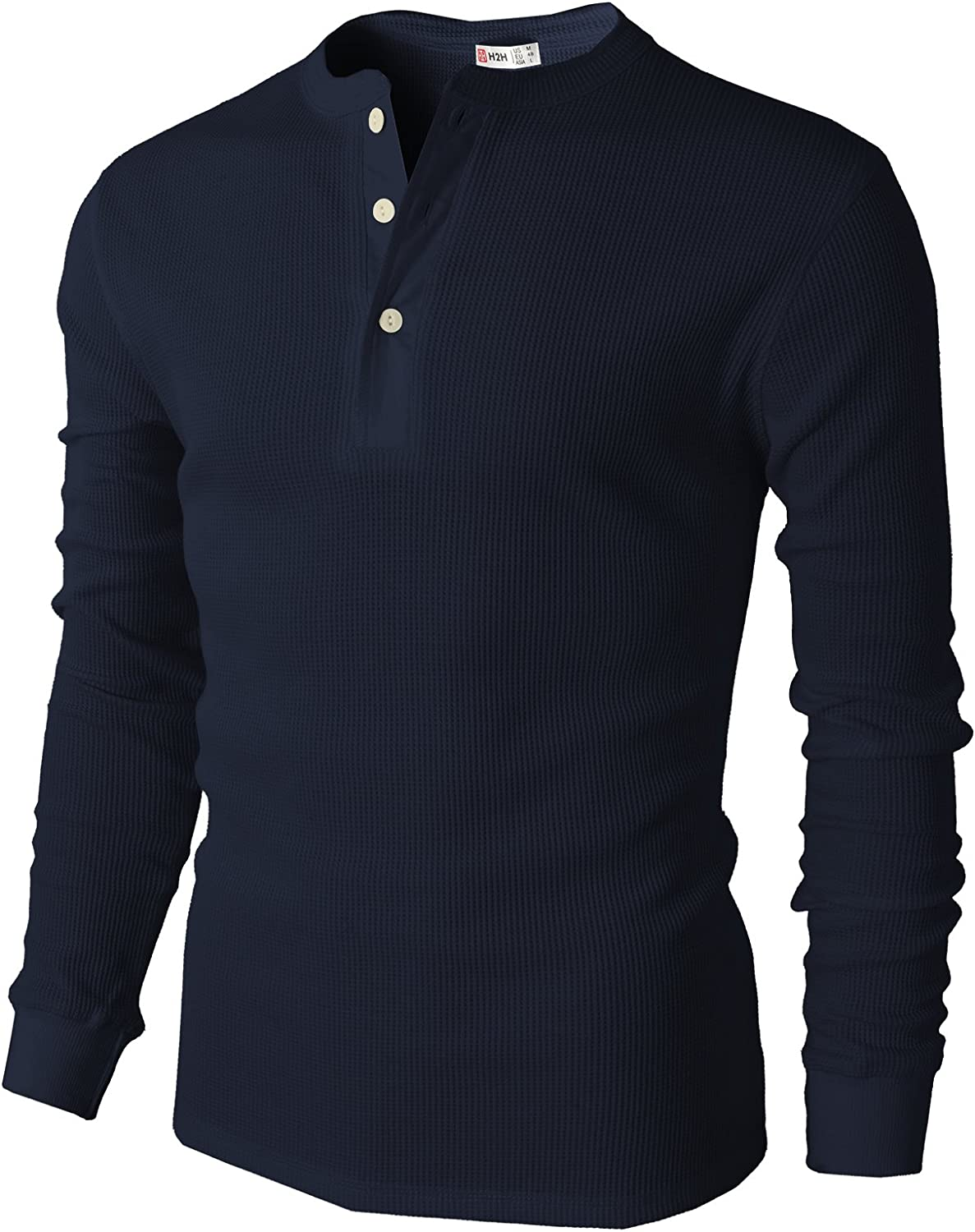 H2H Mens Casual Slim Fit Henley Long Sleeve T Shirts of Waffle Cotton: Clothing