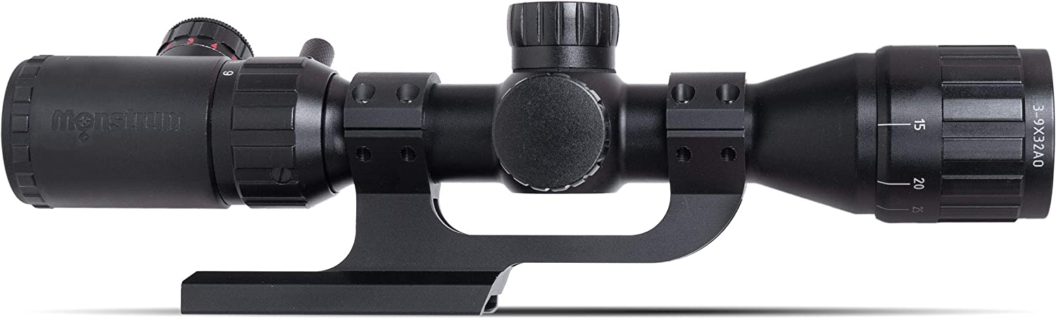 Monstrum 3-9x32 AO Rifle Scope with Illuminated Range Finder Reticle and Parallax Adjustment | ZR250 H-Series Offset Scope Mount | Bundle