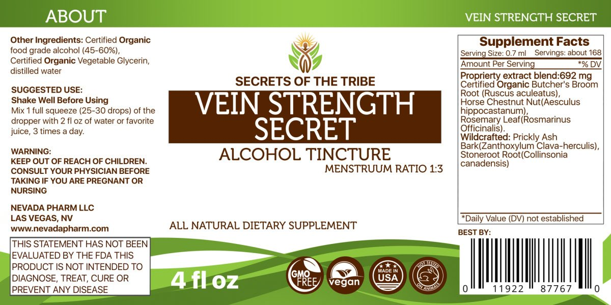 Amazon.com: Vein Strength Secret Tincture Alcohol Extract (Organic: Butchers Broom Root, Horse Chestnut Nut, Rosemary Leaf. Wildcrafted: Prickly Ash Bark, ...