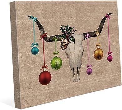 STEER SKULL SOUTHWEST Pewter Christmas ORNAMENT Holiday
