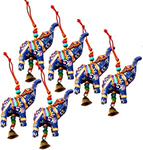 Rastogi Handicrafts Elephant Bell Hanging Layer Set of 6 Home Christmas Hanging Decorative Ornaments Multi Colored Indian Traditional (Blue)