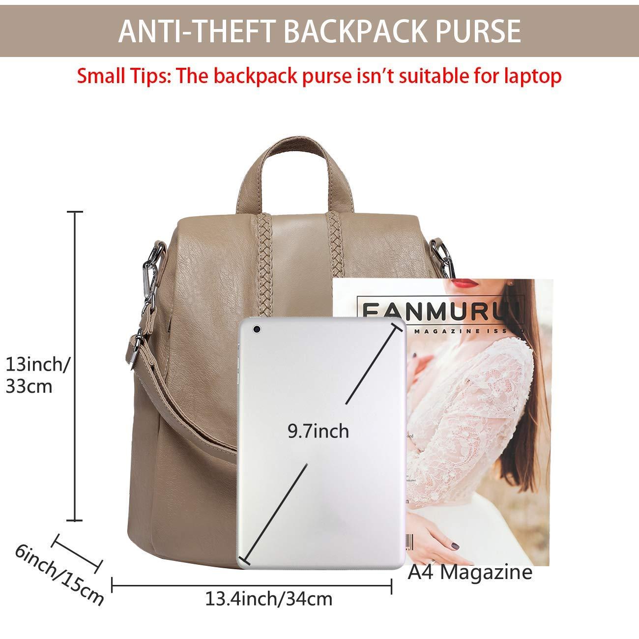 Jsmhh Ryggsäck för kvinnor, mode falskt läder stöldsäker ryggsäck för damer skolväska med vintage väv (färg: Brun) Khaki