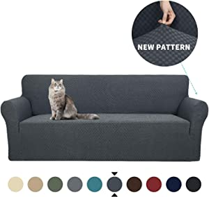 YEMYHOM Couch Cover Latest Jacquard Design High Stretch Sofa Covers for 3 Cushion Couch, Pet Dog Cat Proof Slipcover Non Slip Magic Elastic Furniture Protector (Sofa, Dark Gray)