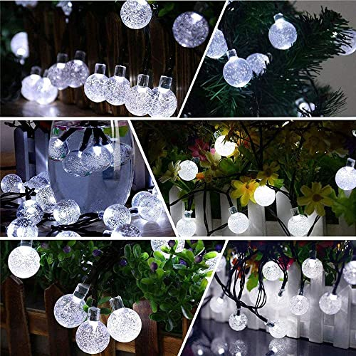 melupa Solar String Lights, 24ft 50 LED Solar Patio Lights with 8 Modes, Waterproof Crystal Ball String Lights for Patio, Lawn, Garden, Wedding, Party, Christmas Decor