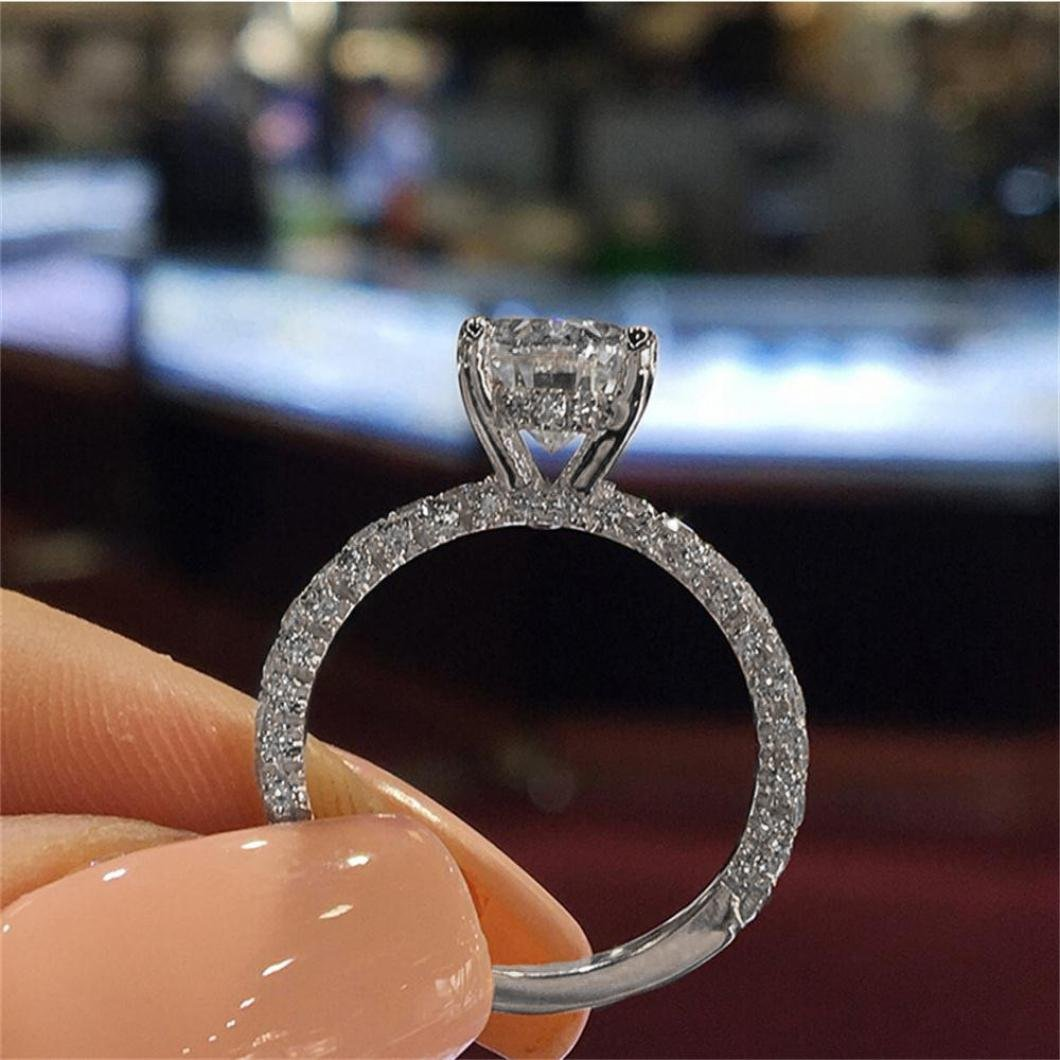AMA 10, Silver-Oval Women FilledSapphire Crystal Diamond Ring Engagement Bridal Wedding Band Rings Jewelry TM