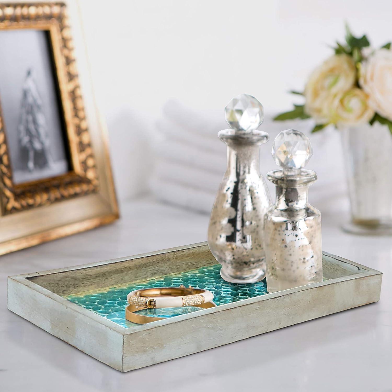 nu steel TR-248 Wooden Tray Aqua Mosaic
