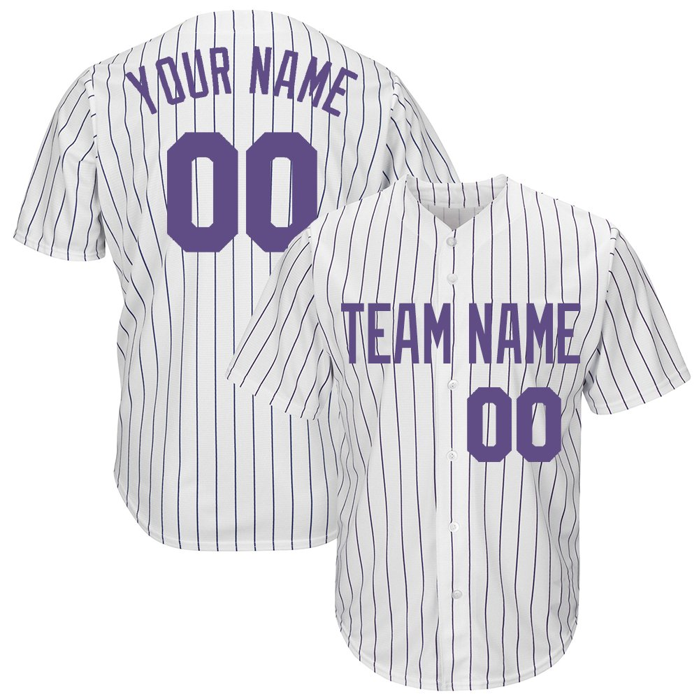 Custom Men's White Pinstriped Baseball Jersey with Sewn Team Name Player Name and Numbers,Purple Size 2XL by DEHUI