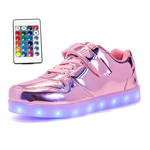 Maniamixx Zapatos LED con Mando a Distancia Zapatillas Luminosos Para Niños y Niñas(rosa01,