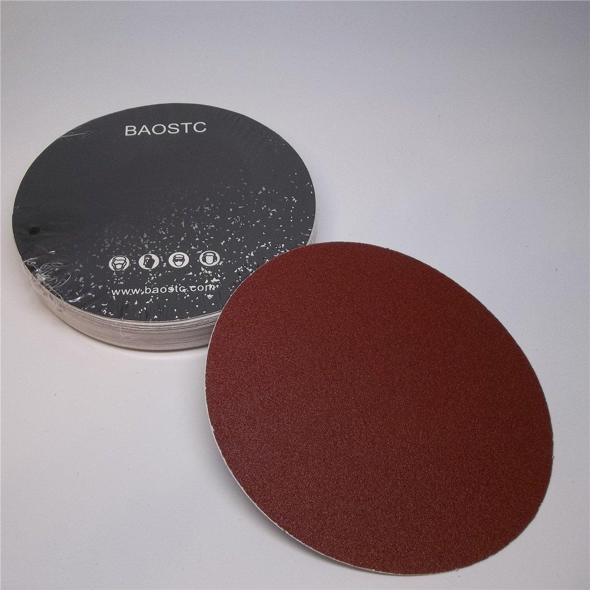 BAOSTC 6' no holes P80 PSA sanding disc, red aluminum oxide, 50PACK