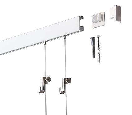 L/ängen und Farben Silber-matt eloxiert 4 Meter SOFT-RAIL/® Bilderschienen Set BUDGET versch