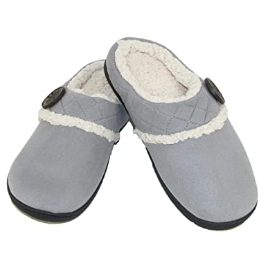 Dearfoams Women's MFS Clog w Quilted Cuff & MF, Grey, S Medium US | Slippers