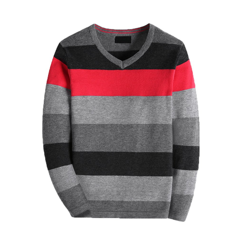 BASADINA Boy's Long-Sleeve Sweater Pullover V-Neck 100% Cotton Multicolor Stripe.