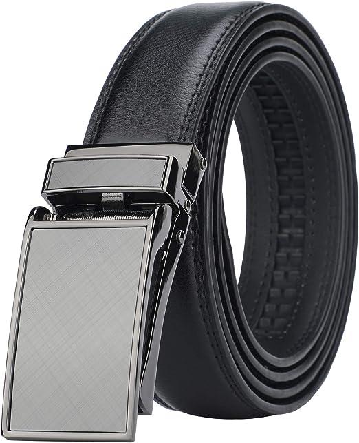 Amazon.com: Cinturón de vestir con trinquete de piel ...