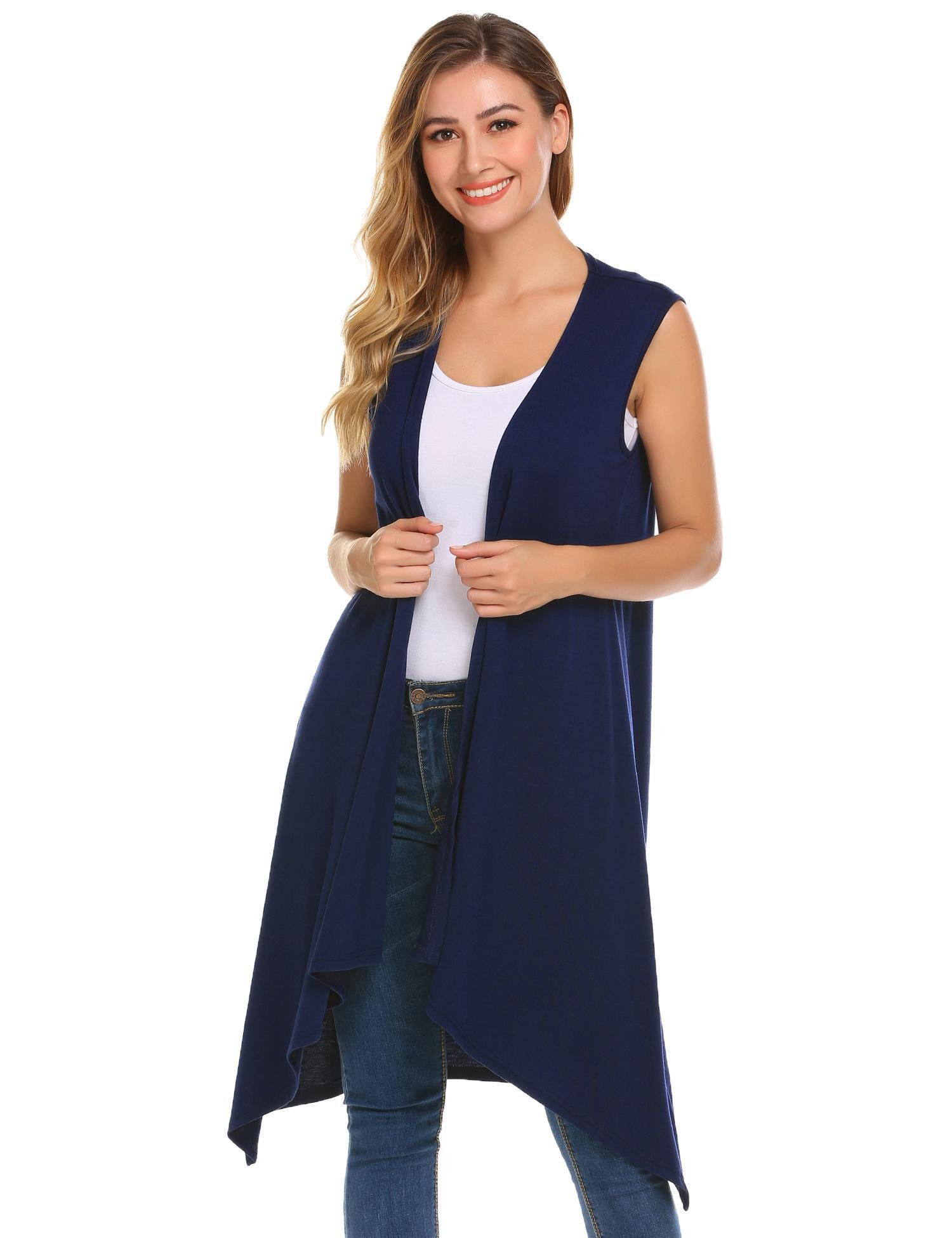 Grabsa Women's Solid Color Open Front Sleeveless Long Drape Cardigan Vest Navy Blue XL