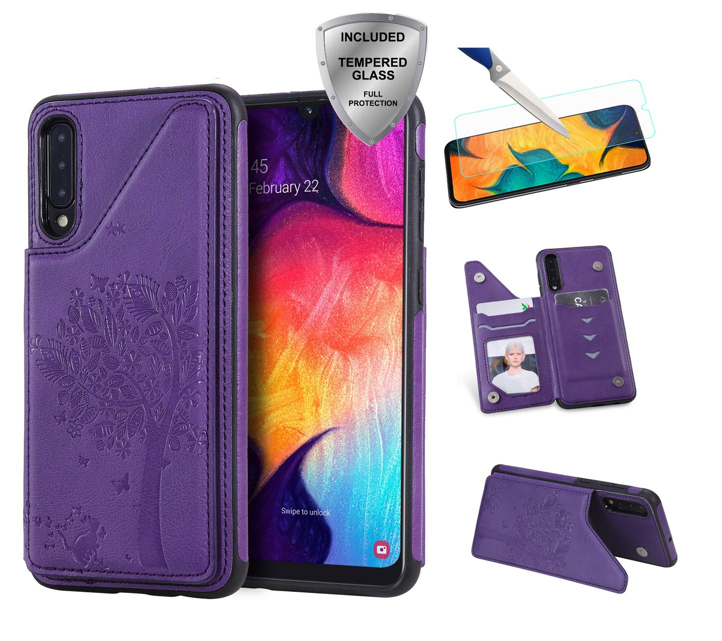 Tznzxm Galaxy A50 Case with [Tempered Glass Screen Protector] PU Leather Kickstand Card Slots Double Magnetic Clasp Durable Shockproof Soft TPU Back Wallet Flip Cover for Samsung Galaxy A50 Purple by Tznzxm