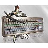 メカニカルキー ゲーミングキーボード 青軸 104キー LEDキートップ 輝度4段階調節可能 人間工学設計 抗衝突 (ゴールド+ホワイト) [並行輸入品]