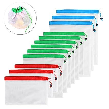 BESTONZON 12 unids Bolsas Compra Reutilizables Bolsas de Productos Ecológicas para Almacenamiento de comestibles de frutas y verduras juguetes