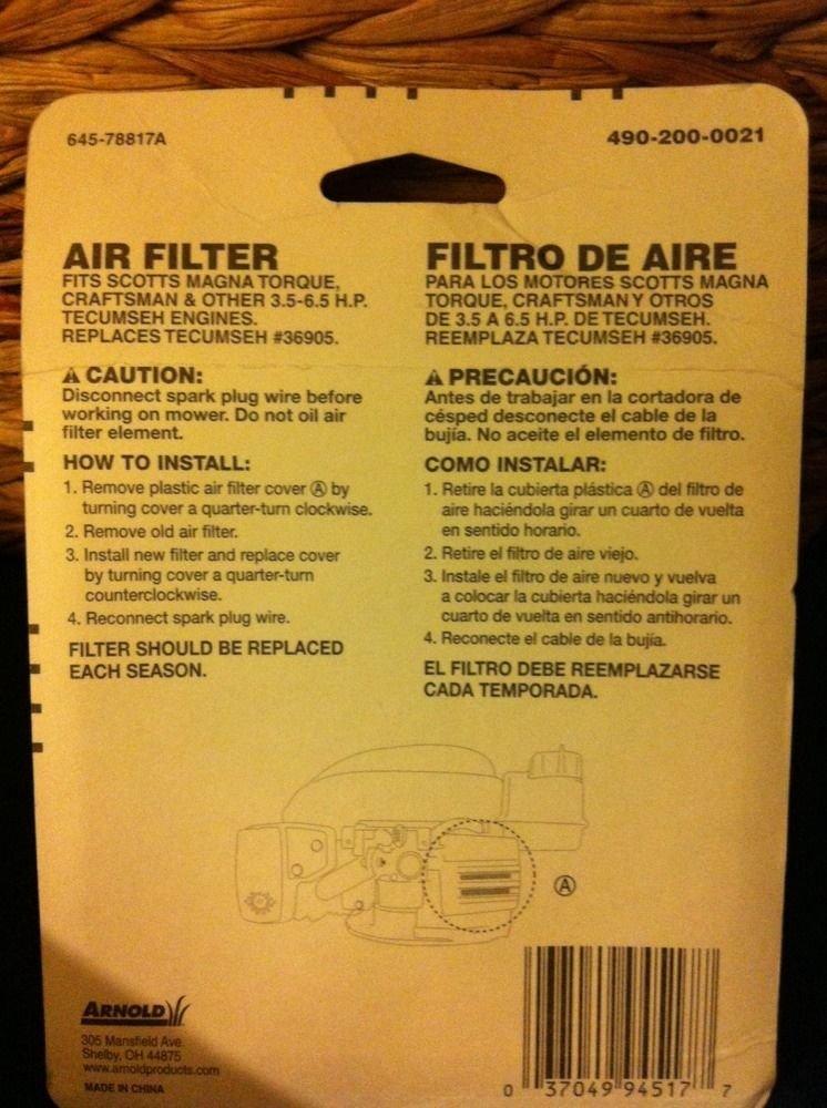 Amazon.com : Arnold Air Filter 36905 490-200-0021 037049945177 Lawn mower filters ;P#O455K5/U 7RK-B252375 : Garden & Outdoor