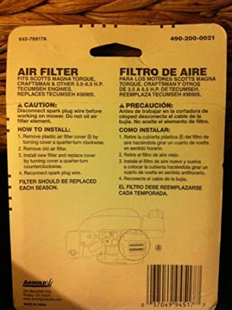 Amazon.com : Arnold Air Filter 36905 490-200-0021 037049945177 Lawn mower filters ;P#O455K5/U 7RK-B252375 : Garden & Outdoor