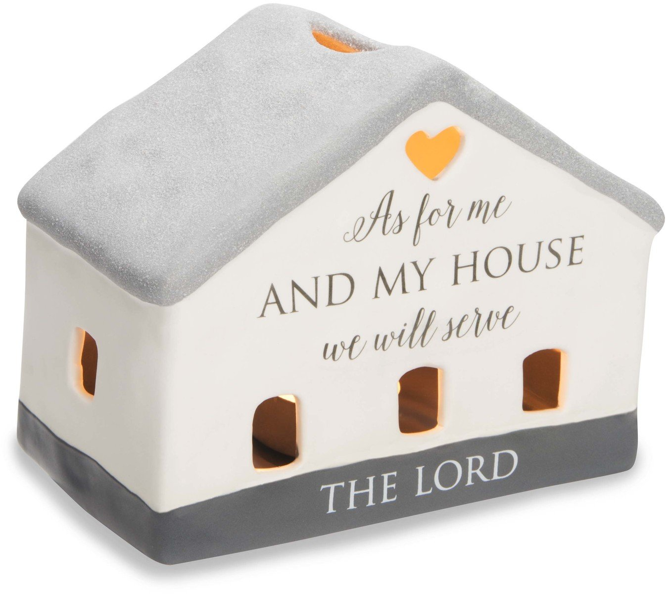 Pavilion Gift Company 86207 Love Lives Here - As For Me & My Home We Will Serve The Lord Porcelain House Candle Holder