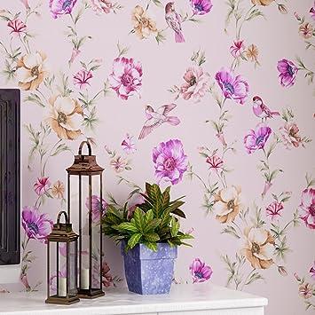 Non Woven Wallpaper Plain Paper Flowers Romantic Garden Flower