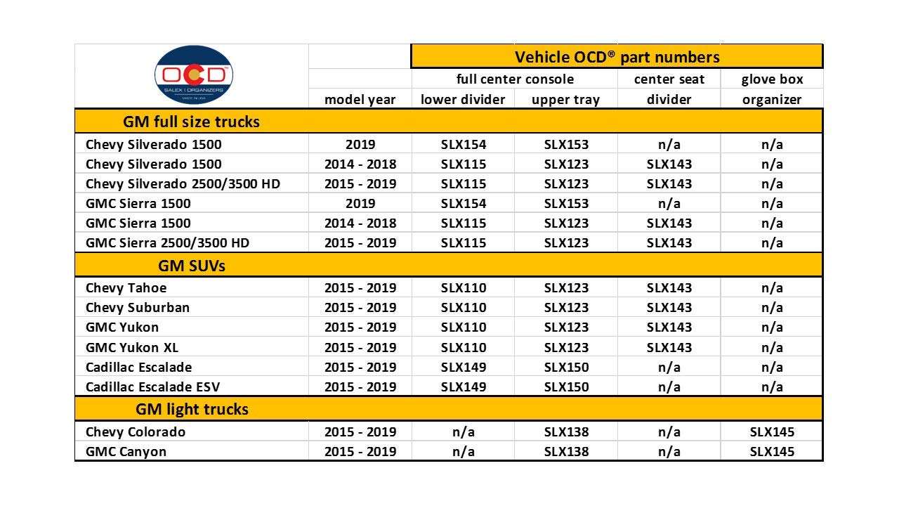 - Made in USA 2014-18 Vehicle OCD Full Console w//Bucket Seats ONLY Center Console Organizer for Chevy Silverado 1500//GMC Sierra 1500 2015-19 Silverado HD//Sierra HD