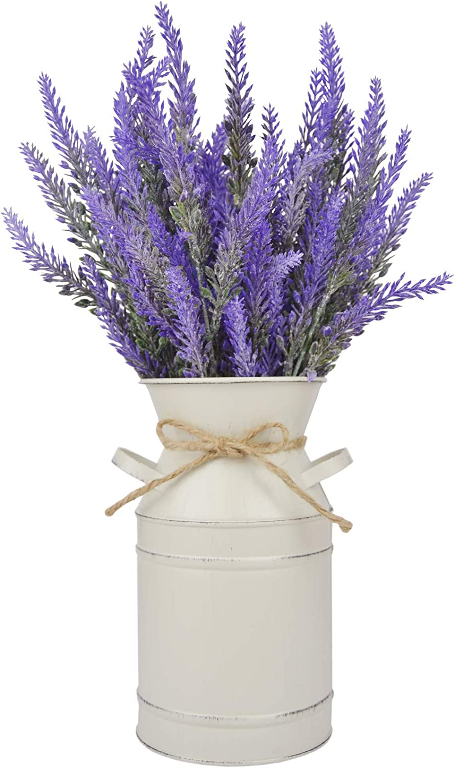 LESEN Farmhouse Decorative Vase with Artificial Flowers Lavender,Rustic Home Decor Metal Milk Can Country Jug for Living Room, Bedroom, Kitchen(Off White)